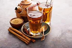 Hot sweet tea with cinnamon