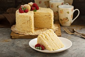 Napoleon cake with butterscotch frosting