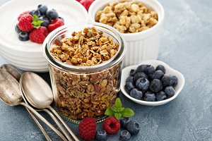 Homemade granola in glass jar