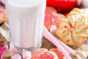 Valentine's day cookies with milk