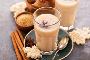 Hot masala tea with spices