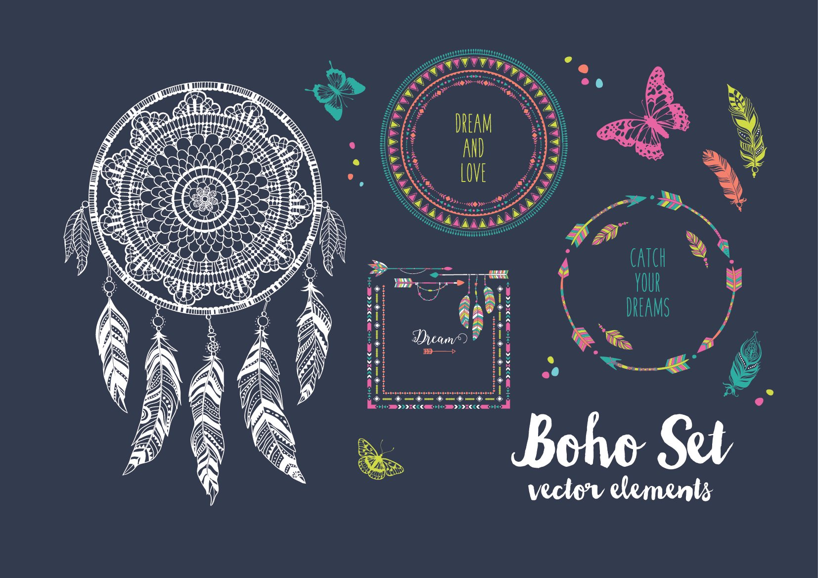 Boho Set Graphic Objects Creative Market