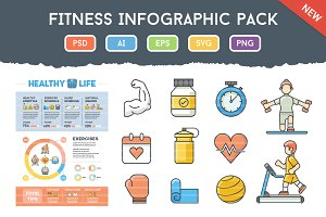 Fitness Infographic Pack With Icons