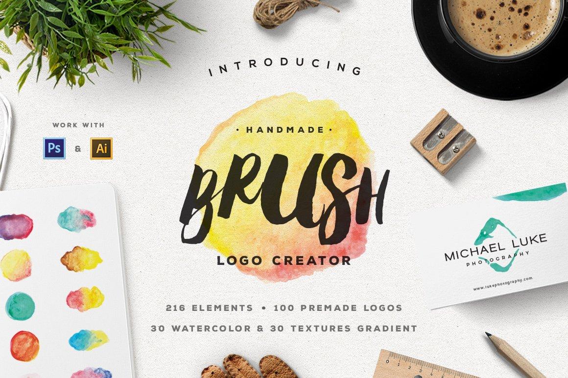 Handmade Brush Logo Creator Logo Templates Creative Market