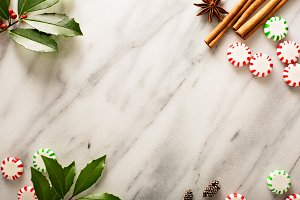 Holiday background with peppermint candy