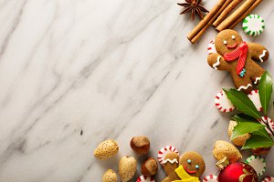 Holiday background with gingerbread