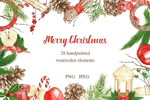 watercolor christmas set clipart
