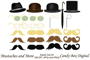 Mustaches and More Clip Art