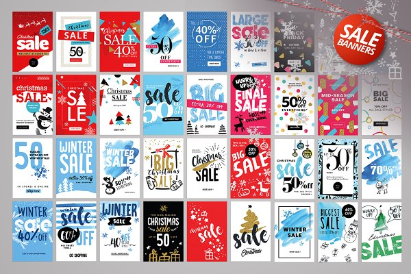 Set of Winter Mobile Sale Banners