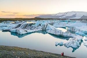 Icebergs in Jokulsarlon at sunset