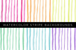 6 Watercolor Stripe Backgrounds