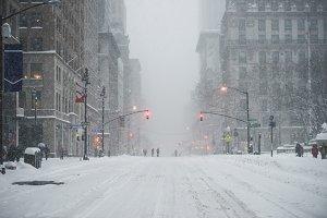 New York City street on winter