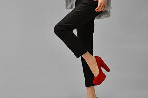 long legs girl on red high heels
