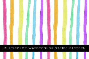 Multicolor Watercolor Stripe Pattern