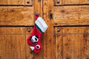 Christmas sock on the door