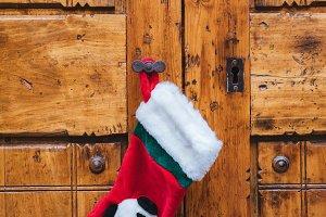 Christmas sock on the door