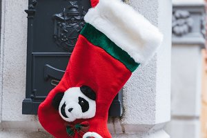 Christmas sock in the mailbox