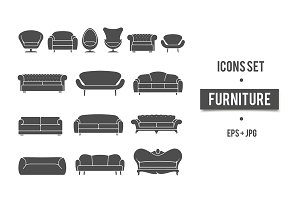 Vintage furniture set. Vector icons