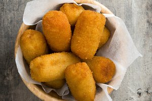 Traditional fried Spanish croquetas