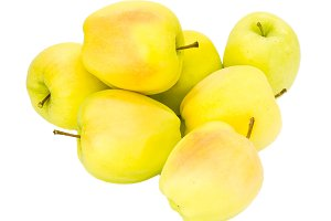 Fresh yellow apples isolated