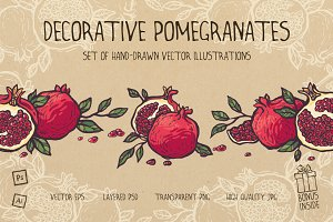 Decorative pomegranates set