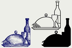 Grapes, bottles and glasses SVG