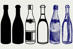 Bottle of champagne SVG