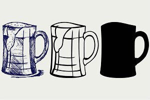 Glass and mug of beer SVG