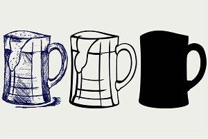 Glass and mug of beer SVG
