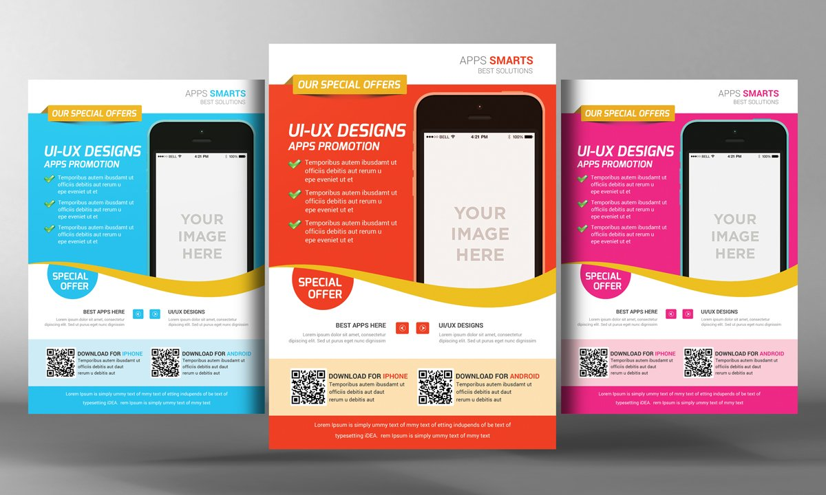 mobile app flyer templates flyer templates on creative market