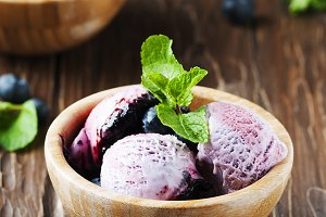 Ice-cream with blueberry