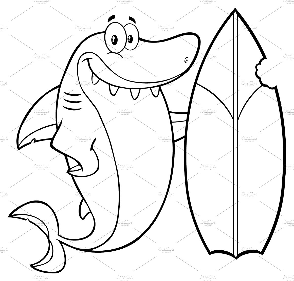 Black And White Shark With Surfboard ~ Illustrations