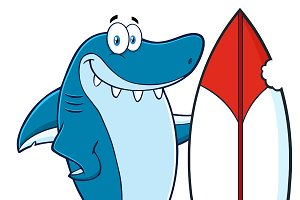 Smiling Blue Shark With Surfboard