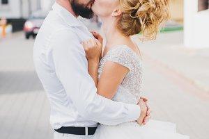 Wedding couple, kissing
