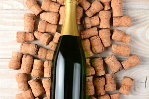 Champagne Bottle and Corks