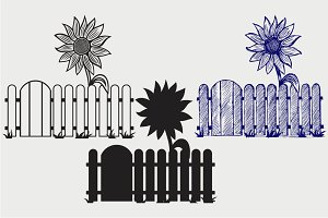 Sunflower and fence SVG
