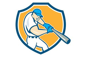 American Baseball Player Batting Shi