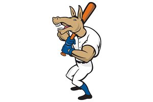 Donkey Baseball Player Batting Carto