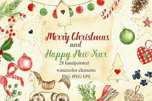 watercolor clipart christmas set