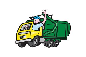 Garbage Truck Driver Waving Cartoon
