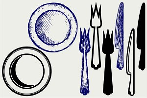 Knife, fork and plate SVG