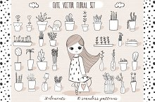 Cute vector pots and patterns