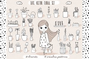 Cute vector pots and pattern