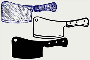 Meat cleaver knife SVG