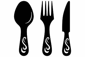 Knife, fork and spoon SVG