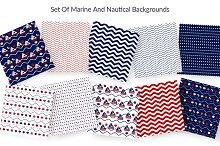 10 seamless pattern in Marine style.