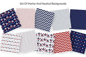 10 seamless pattern in Marine style.