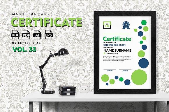 Best Multipurpose Certificate Vol 33