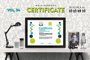 Best Multipurpose Certificate Vol 34