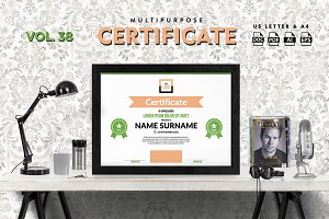 Best Multipurpose Certificate Vol 38